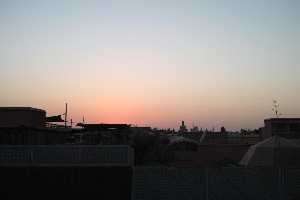 屋上夕焼け