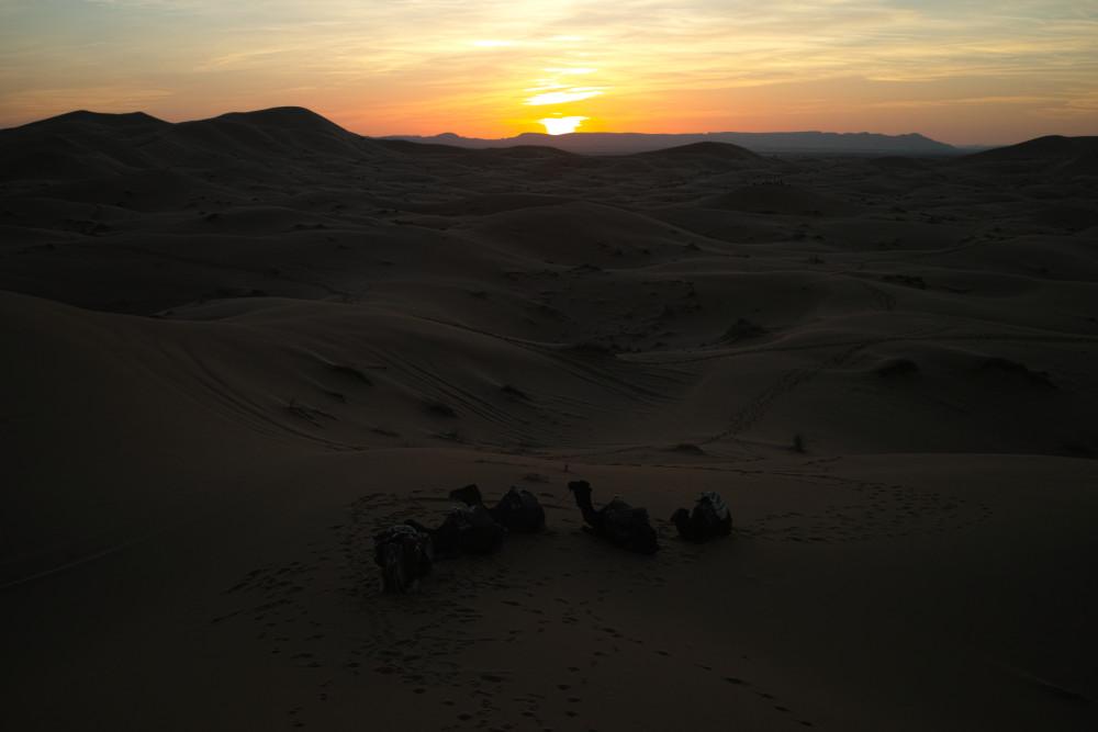 サハラ砂漠夕焼け